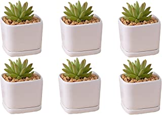 Mini 6 set 2x1.65x2inch square Modern Minimalist White Ceramic Succulent mini Planter Pot/Window Box with Saucer (Square, 2inch)