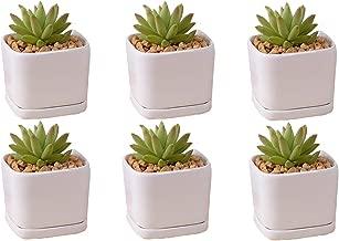 Mini 6 set 2x1.65x2inch square Modern Minimalist White Ceramic Succulent mini Planter Pot/Window Box with Saucer (Square, 2inch)