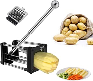 French Fry Cutter, Professional Potato Chipper with Extended Handle, Vegetable Slicer Chopper with 2 Replacement Blades and Non-Slip Feet