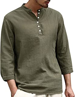 Willow S Men's Baggy Cotton Linen Tees 3/4 Sleeve Button Retro V Neck Solid Color T Shirts Casual Tops Blouse …