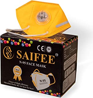 SAIFEE Yellow N-95 Face Mask - Re-usable, Non-woven with Melt Blown Layer - (Pack of 3)