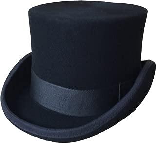 Men's 100% Wool Top Hat Satin Lined Party Dress Hats Derby Black Hat