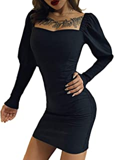 JFseason Women's Dress Frill Ruched Puff Sleeve Sexy Party Cocktail Club Dresses