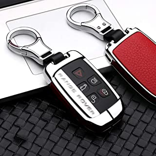ontto for Land Rover Key Fob Cover Keyless Prevent Scratches Metal Leather Key Protector Skin Shell Keychain Fit for Range Rover Sport Dsicovery LR5 Red