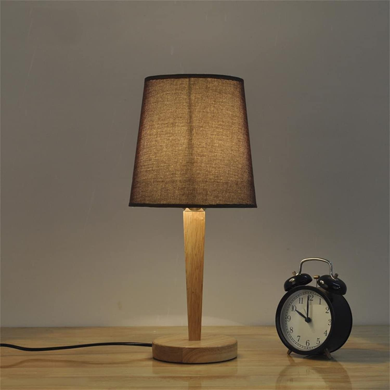 GJ- GJ- GJ- Einfache und kreative Massivholz-Tuch-Warm Tischlampe Schlafzimmer Lichter (Farbe   Dark Coffee Farbe) B078TZ8QKY | Heißer Verkauf  fc2085