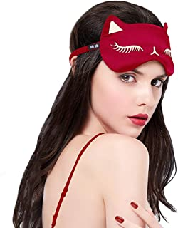 Cat Eye Mask Natural Silk Sleep Mask by Drizzle Smooth and Soft Eye Covers for Sleeping (Red)