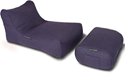 Ambient Lounge® Studio Chaise 2 Piece Indoor Set (Price Includes Filling). Designer Bean Bag Chair Plus Ottoman Pre Filled and Ready to Lounge in Aubergine Dream