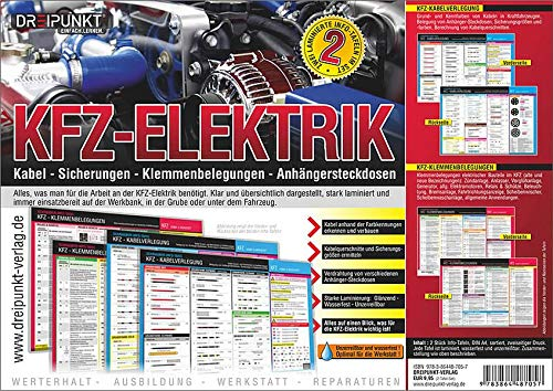 Info-Tafel-Set Kfz-Elektrik: Kabel, Sicherungen, Klemmenbelegungen, Anhängersteckdosen.