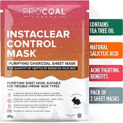 Sheet Mask, Instaclear Control Sheet Mask By PROCOAL - Helps Fight Blemishes Using Hydrolysed Rice Bran, White Willow & Tea Tree Oil for Acne Treatments, Vegan | Formulated In UK