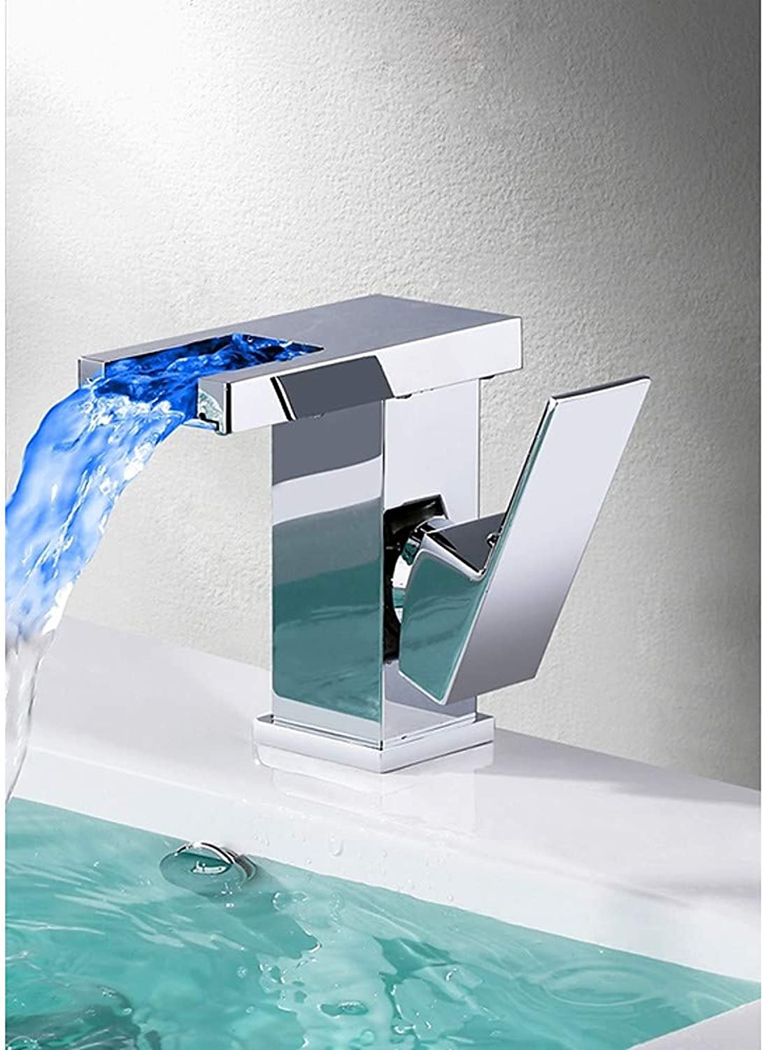 Tintin Bathroom Sink Faucet - Waterfall Chrome Centerset Single Handle One Hole LED