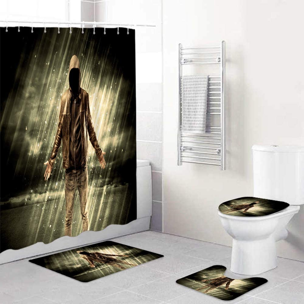 Max 74% OFF HASENCIV 4 Pcs Shower Curtain Waterproof Non-Slip Sets Ru Courier shipping free shipping with
