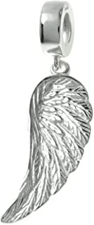 Sterling Silver Angel Wing Feather Guidance European Style Dangle Bead Charm