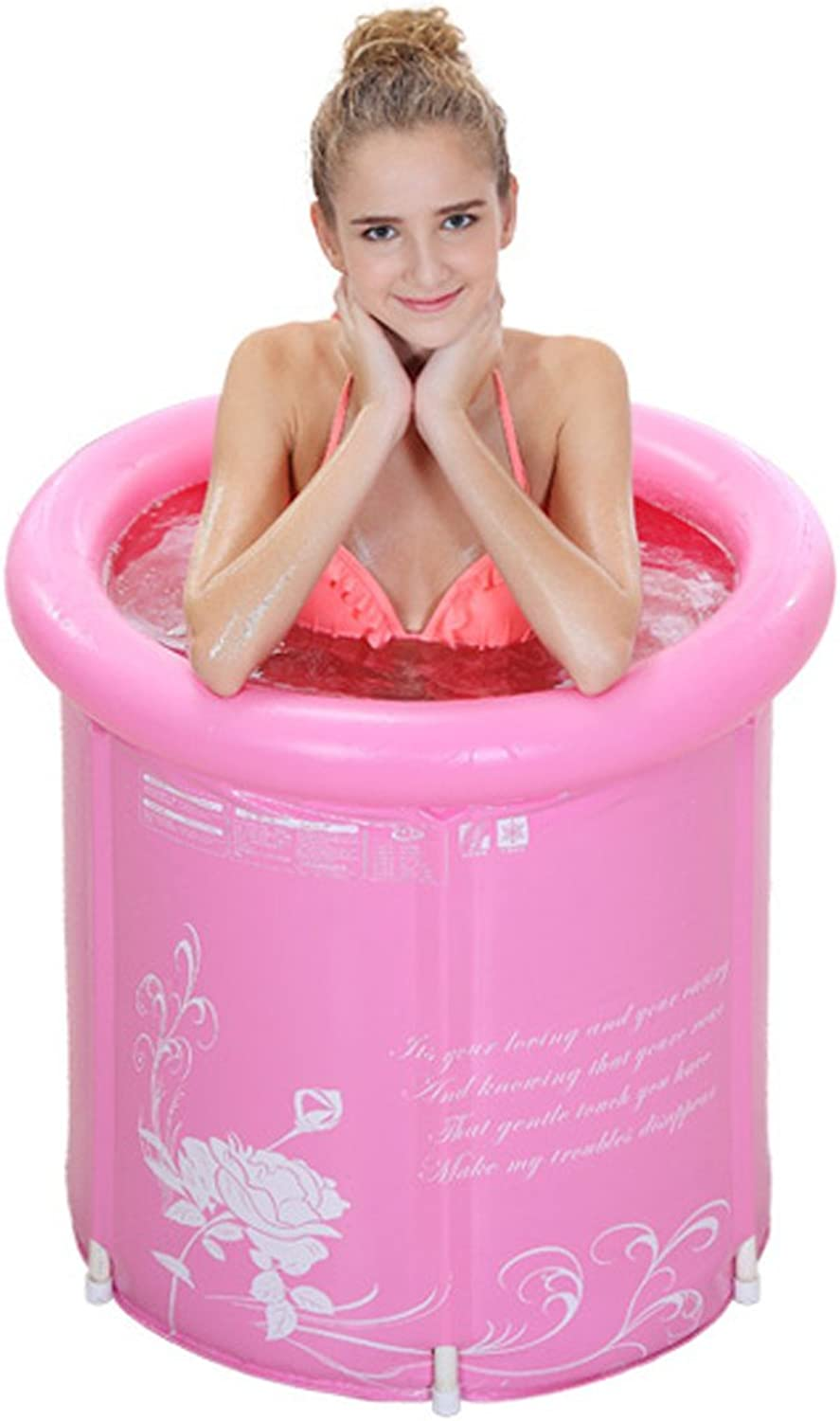 Inflatable bathtub GJ- Thickened Water Folding Bath Tub Adult (color   Pink, Size   6570cm)