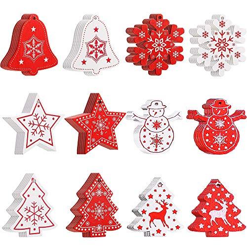 LUOWAN 60 Pezzi Ornamenti Natalizi in Legno da Appendere per Decorazioni Albero di Natale Pendenti Legno Natalizi Addobbi Albero Ornamenti Decorativi Appeso DIY Artigianato