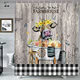 Landhaus-Duschvorhang, rustikaler Duschvorhang, lustige Kuh auf rustikaler Bauernhof-Holzplanke, Landhausstil, Stoff, Duschvorhang mit Blumen & Schmetterlingen, Dekoration, 1,5 x 178 cm