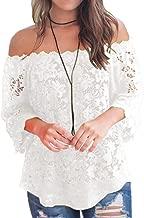 Bloggerlove Women's Lace Off Shoulder Tops Boho Casual Loose Blouse Shirts