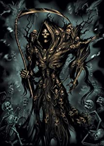 Pyramid America Spiral Assassin Grim Reaper with Skeletons Fantasy Horror Cool Wall Decor Art Print Poster 24x36