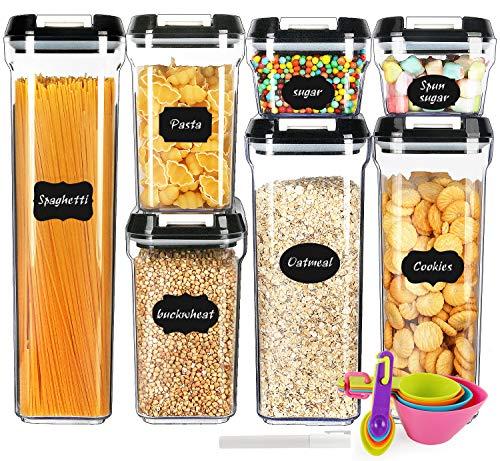 Frischhaltedosen mit Deckel, luftdichte Kunststoffbehälter, Spaghetti und Müslispender, BPA-frei, 7 Stück