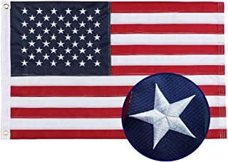 Woworld 2x3 Feet American Flag Nylon USA Flag Outdooor Indoor US Flag Embroidered Stars Swen Stripes Brass Grommets