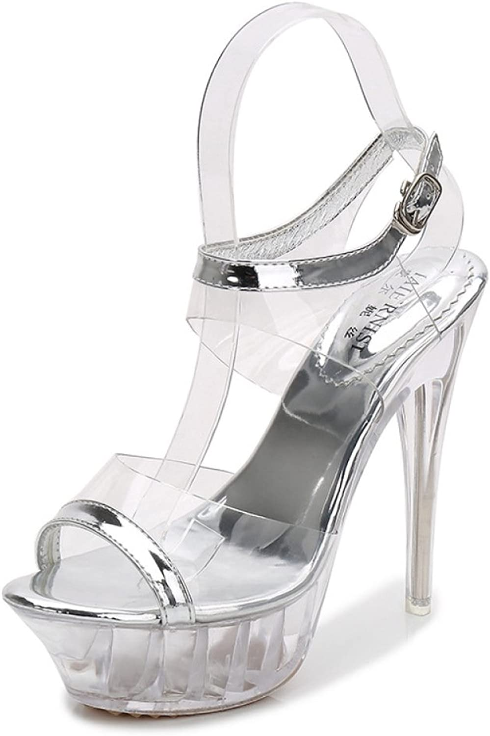 LINYI Women's Stiletto Heels Model High Heels Transparent shoes Platform Sandals Catwalk Show