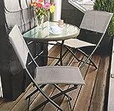 Ideas Balkongruppe Annette Klapptisch + 2 Klappstühle Balkon Tisch Stuhl Grau meliert Pulverbeschichtet Textilbezug