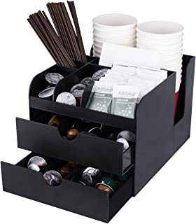 Vencer Coffee Condiment and Accessories Caddy Organizer, Black