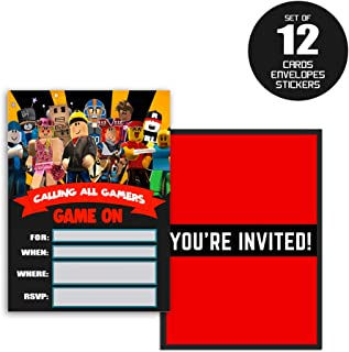 Roblox Invitations Cards Birthday Party Invitation Theme Card for Children - 12 Set