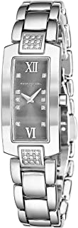 Shine Womens Rectangular Diamond Watch - Swiss Made Grey Face with Sapphire Crystal - Stainless Steel Band with Additional Black Satin Leather Band Rectangle Quartz Watch 1500-ST-00785