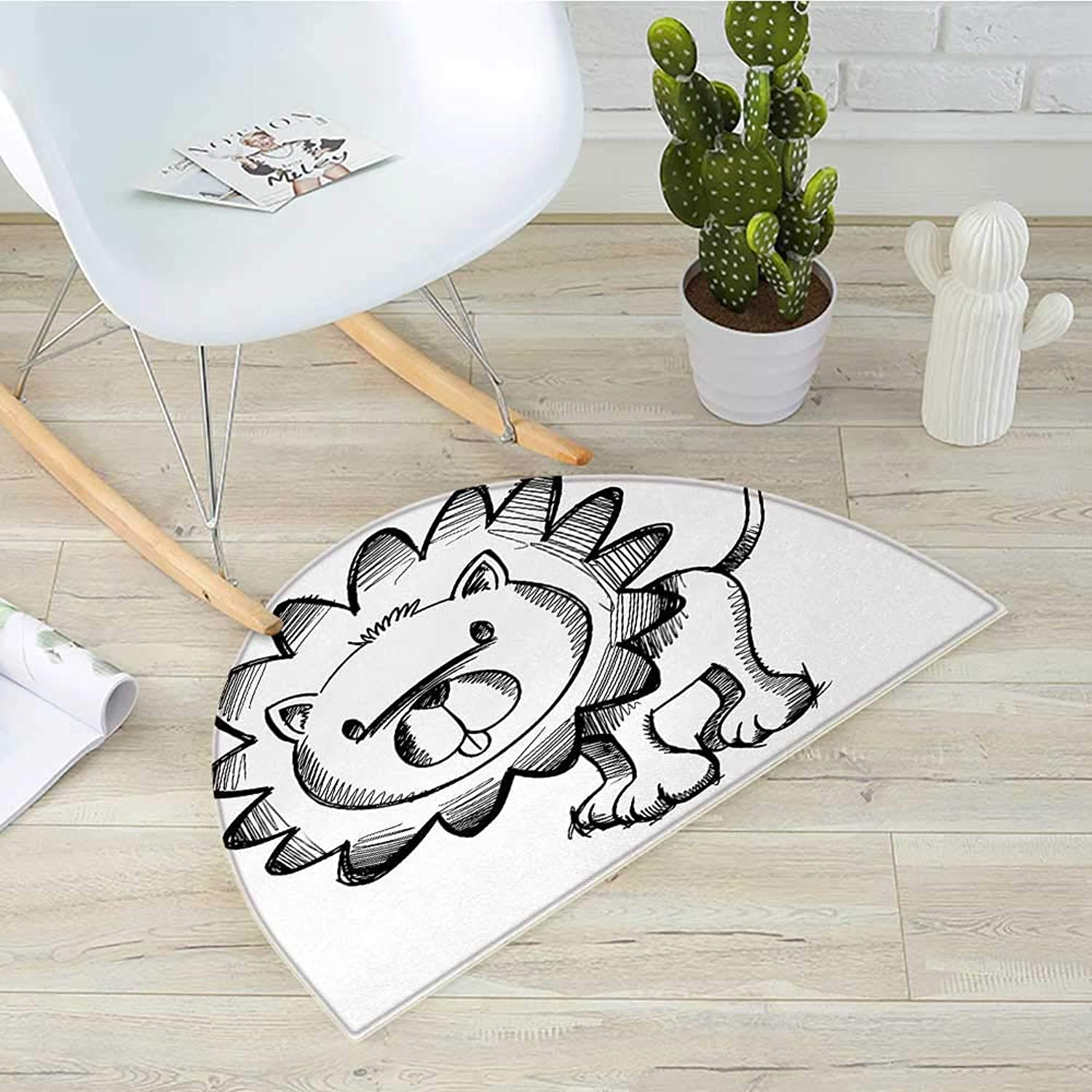 Doodle Semicircular CushionSketchy Baby Lion African Wildlife Character Safari Jungle Savanna Habitat Theme Entry Door Mat H 35.4  xD 53.1  Black White