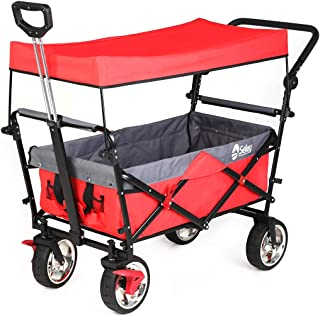 Sekey Folding Wagon with Canopy Collapsible Outdoor Utility Wagon with Telescopic Push Bar Camping Wagon, Heavy-Duty Wheels with Brakes, Red