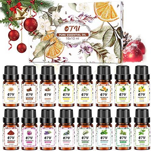 TXIN Naturreine Ätherische Öle-16 Packs, 16x10 ml 100% Reines Therapeutisches Öle Set, Pure Duftöl Bio Aromatherapieöle Geschenkset für Diffusor Massage & DIY 0.34 Fl Oz