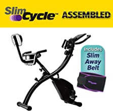 BulbHead As Seen On TV Slim Cycle 2-in-1 Stationary Bike - Folding Indoor Exercise Bike with Arm Resistance Bands and Heart Monitor - Perfect Home Exercise Machine for Cardio