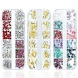 Czemo Kit de diamantes de imitación Kit de Decoraciones de Arte de Uñas 3D, 3 Cajas de Estilos Mezclados, Diamantes Brillantes de Cristales Gemas Colorida Perla para Decoración Arte de Uña