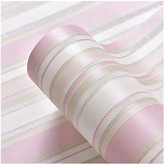 Papel pintado papel pintado de la sala de estar del dormitorio de jardín de infantes no tejido a rayas pared de fondo rosa