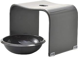 クーアイ(Kuai) アクリル バスチェア&ボウルセット 風呂椅子 洗面器 セット Mサイズ 高さ25cm モダンシリーズ(グレー)