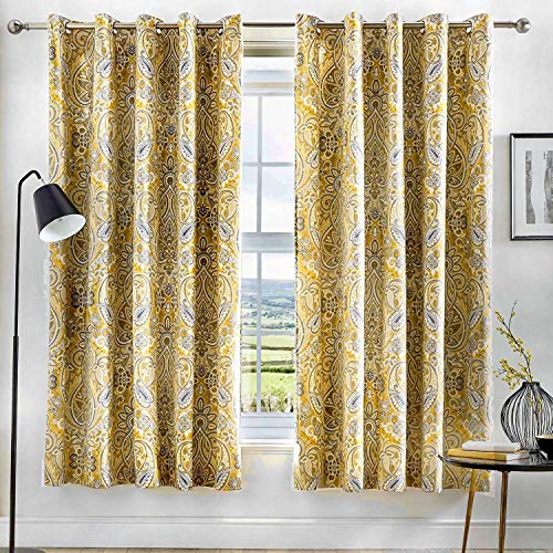 Dreams & Drapes - Maduri - Ready Made Lined Eyelet Curtains - 66' Width x 72' Drop (168 x 183cm) in Ochre