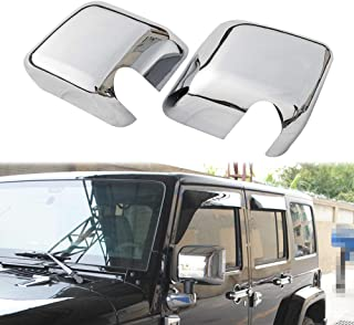 JeCar Side Mirrors Cover Chrome ABS Rearview Mirrors Trim Exterior Accessories for 2007-2018 Jeep Wrangler JK JKU