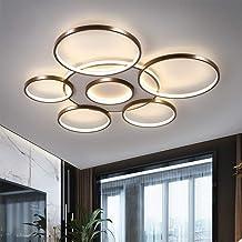 Lampa sufitowa LED, ściemniana, z pilotem zdalnego sterowania, barwa światła i jasność, regulowana, metalowa rama, do sypi...