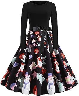 YOcheerful Party Dress Women Fashion Christmas Print Dress Round Neck Zipper Bow O Neck Swing Dress