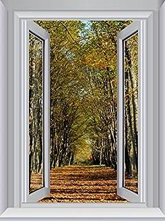 JP London CWPOSLT7016 uStrip Lite Removable Wall Decal Sticker Window Mural Trees Path Memory Lane Autumn, 24-Inch x 18-Inch