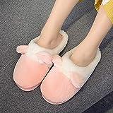SWX-FlipFlop Zapato Zapatillas de algodón Invierno Linda Pareja cálido Fondo Grueso corazón Masculino de Dibujos Animados Rosa 38/39