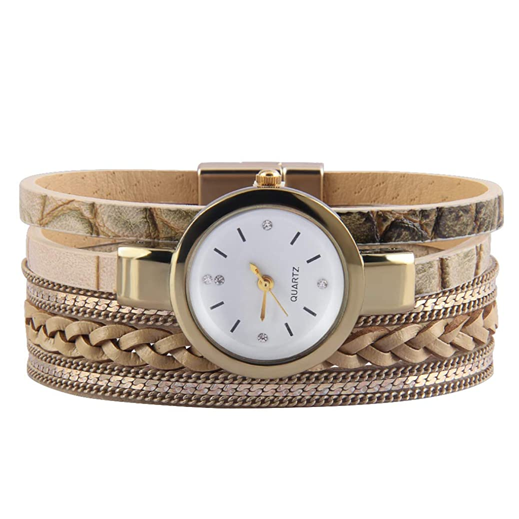 Jenia Women's Leather Watch Wrap Around Bracelets Casual Quartz Wrist Watch Magnetic Clasp Leather Bracelet Gold Plated Watches for Wife, Ladies, Mother, Girls Gifts dsel0574414841