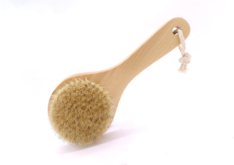 著者花瓶コーデリアMaltose ボディブラシ 豚毛100% 木製 天然素材 短柄 硬め 足を洗う 体洗いブラシ 角質除去 美肌 お風呂グッズ (B:20 * 8CM)