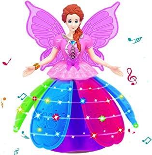 Electronic Robot Pet Dancing Lights Music Pink Doll Dream Room Fairy for Kids Girls Birthday Holiday Xmas Gifts (Purple)