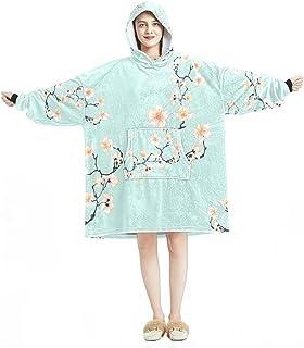 Oversized Hoodie Blanket Sweatshirt, Sherpa Flannel Wearable Blanket Hoodies with Pocket for Adults Men Women, Cherry Blos...