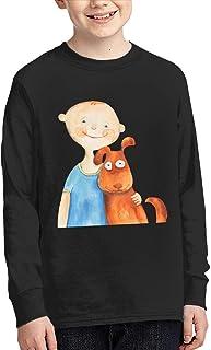 学生 男女兼用 キッズ 長袖 Tシャツ 小さな 男 子 犬 ロングスリーブ Oネック ティー シャツ Black