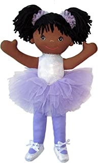 """Anico Well Made Play Doll For Children Ballerina with Pigtails, African American, 18"""" Tall, Lavender"""