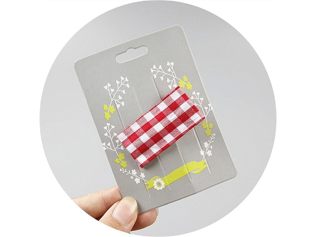 アカデミックいくつかの添加剤Osize 美しいスタイル 子供用ヘアアクセサリーチェック柄ファブリック長方形ヘアクリップダックビルクリップ(赤)