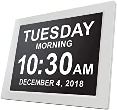 [Newest Version] American Lifetime Day Clock - Extra Large Impaired Vision Digital Clock with Battery Backup & 5 Alarm Options (White)