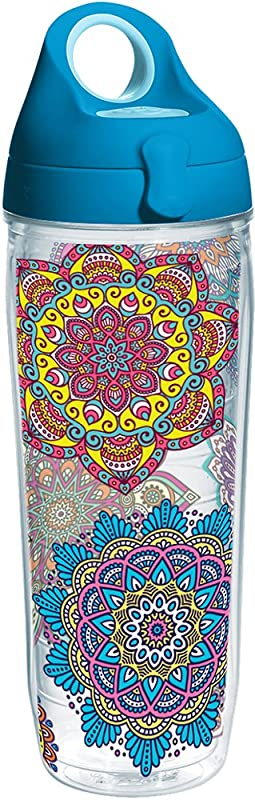 Tervis 1225055 Colorful Mandalas Tumbler With Wrap And Turquoise Lid 24oz Water Bottle Clear